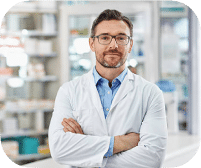 Male Doctor With Glasses And Lab Coat